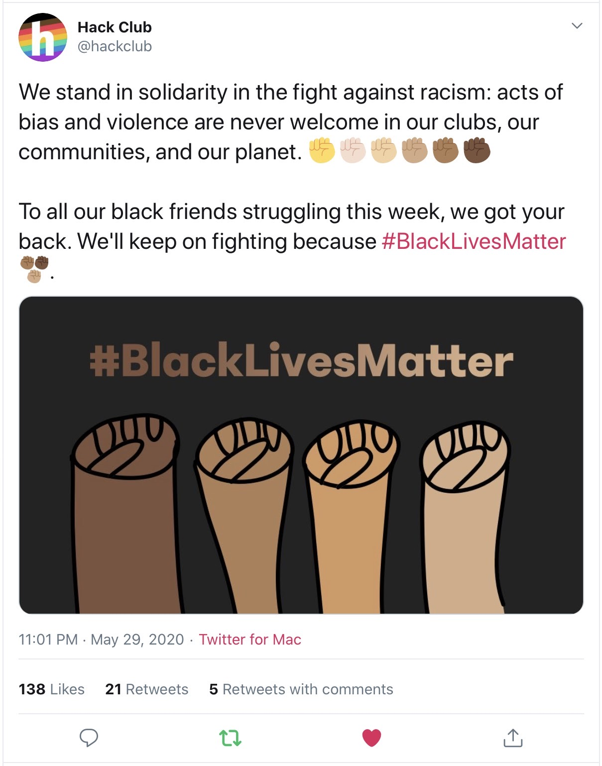 Our tweet about Black Lives Matter