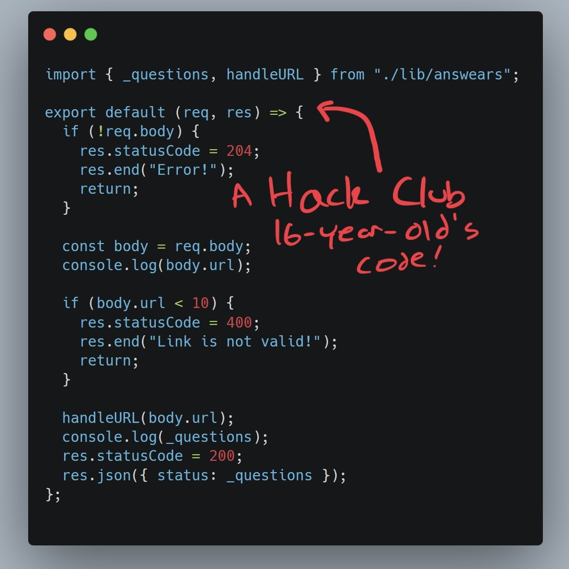 Screenshot of serverless function code by a 16-year-old Hack Clubber